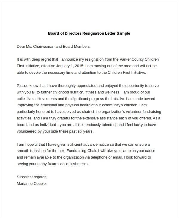 Board Of Directors Resignation Letter Image Collections  Letter