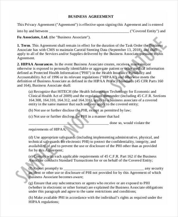 Business agreement form resume templateasprovider sample business form 20 free documents in word pdf business agreement form platinumwayz