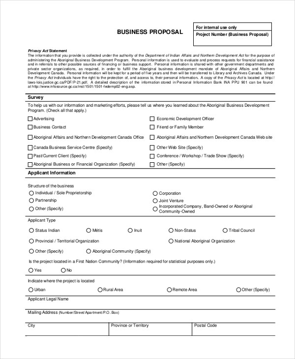 Sample Business Proposal Form - 12+ Free Sample, Example Format - proposal example