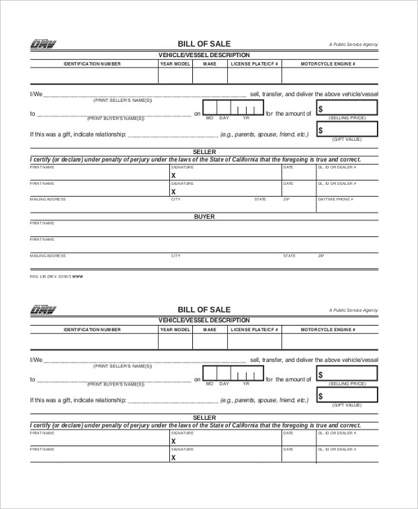 dmv bill of sale forms - Funfpandroid - bill of sales forms