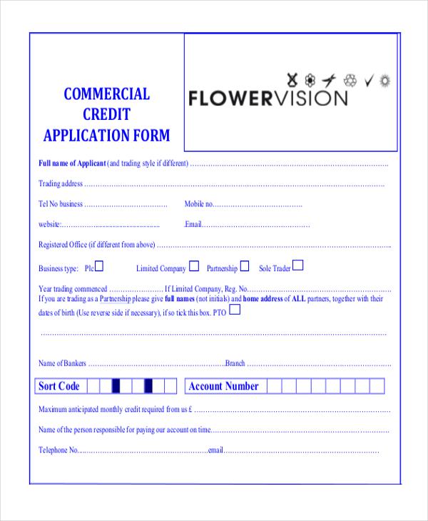 sample credit application form