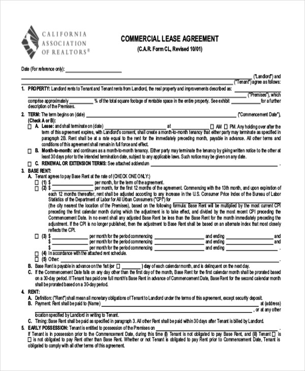 Sample Lease Agreement Form - 9+ Free Documents in Doc, PDF - sample lease extension agreement