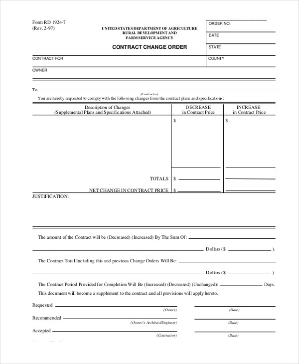 Sample Change Order Form - 9+ Free Documents in Doc, PDF