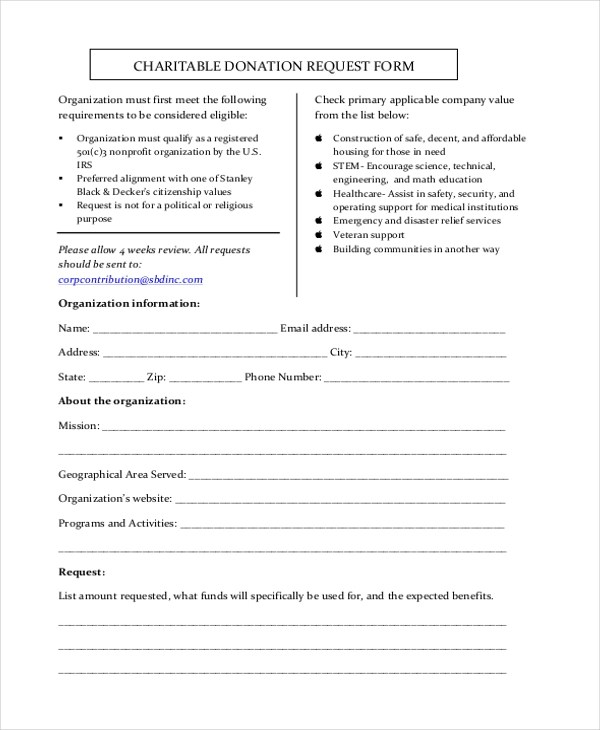 Sample Donation Request Form - 11+ Free Documents in Doc, PDF - donation request forms template