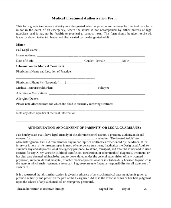 Medical Authorization Form Example Generic Medical Records - sample medical records release form