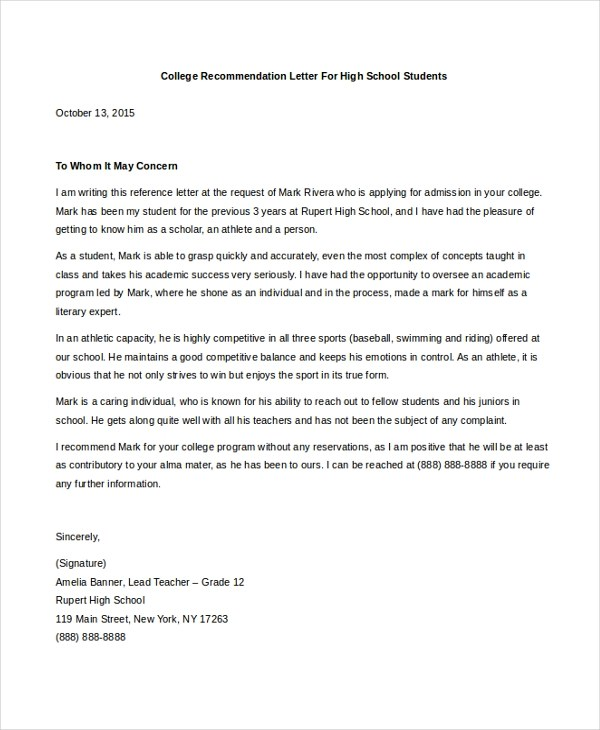 Sample College Letter of Recommendation - 8+ Free Documents in PDF, Doc