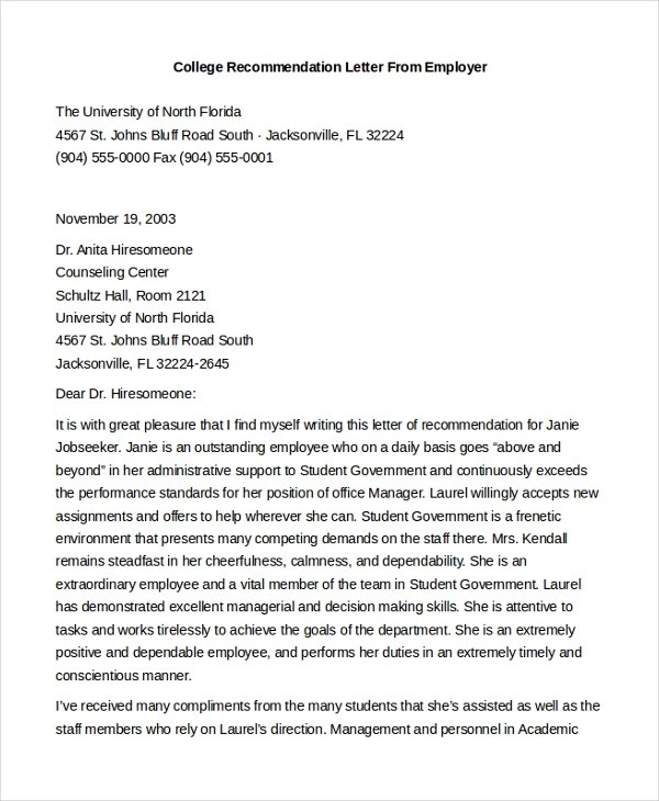 Sample Employment Recommendation Letter For Student  User Guide