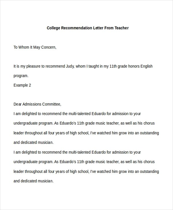 Sample College Recommendation Letter - 8+ Free Documents in PDF, Doc