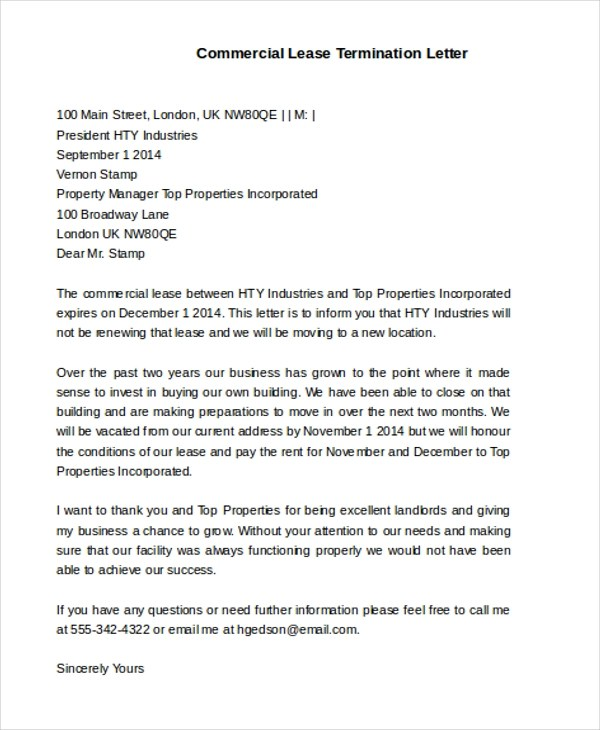 business lease termination letter - Maggilocustdesign - lease termination letter format