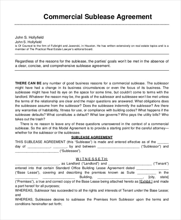 Sample Sublease Agreement Form - 11+ Free Documents in Word, PDF