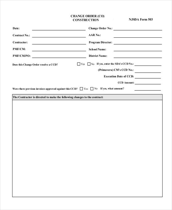 Sample Change Order Form - 9+ Free Documents in Doc, PDF - sample change order template