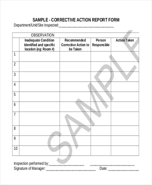Sample Corrective Action Form - 10+ Free Documents in Doc, PDF