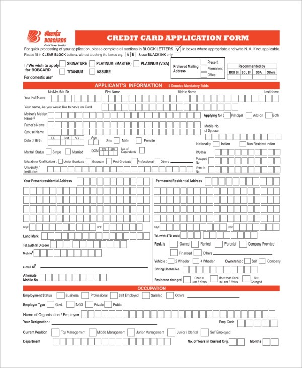 11+ Sample Credit Application Forms - Free Sample, Example ,Format - credit application form