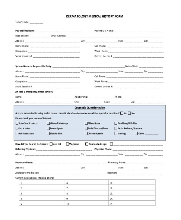 Sample Medical History Form Continued On Next Page Download Initial