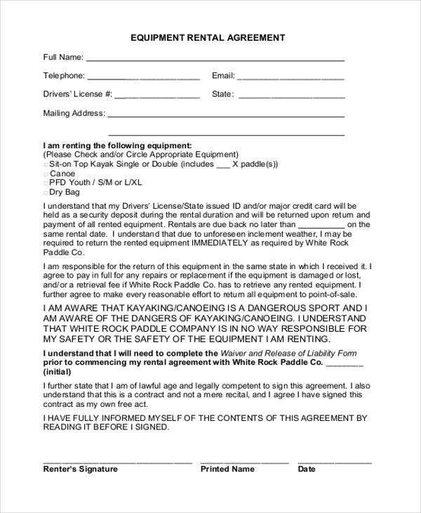 Simple Rental Agreement Form - 12+ Free Documents in PDF - equipment rental agreement sample