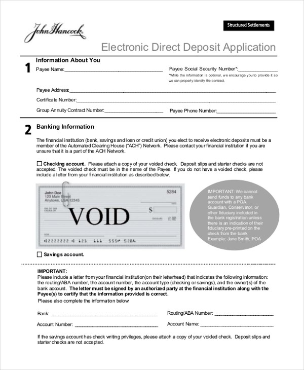Sample Direct Deposit Form - 11+ Free documents in Word, PDF
