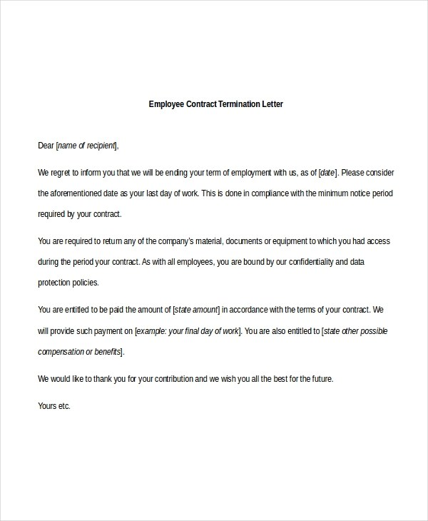 Sample Employee Termination Letter - 8+ Free Documents in PDF - contract termination letter sample