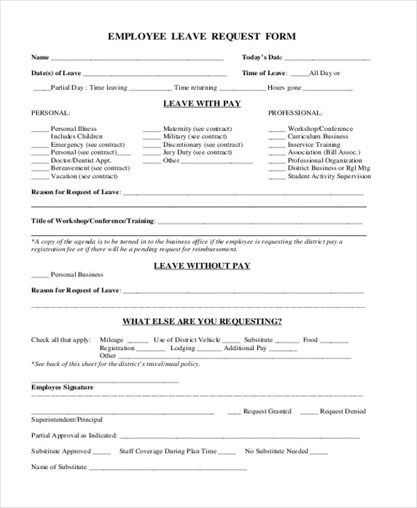 Sample Leave Request Form - 10+ Free Documents in Doc, PDF - leave request form sample