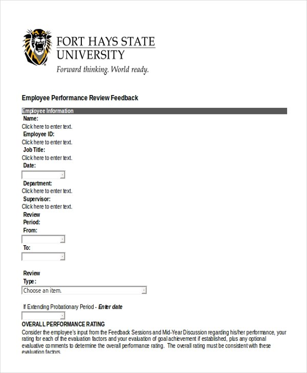 Sample Employee Performance Review Form - 10+ Free Documents in Doc, PDF