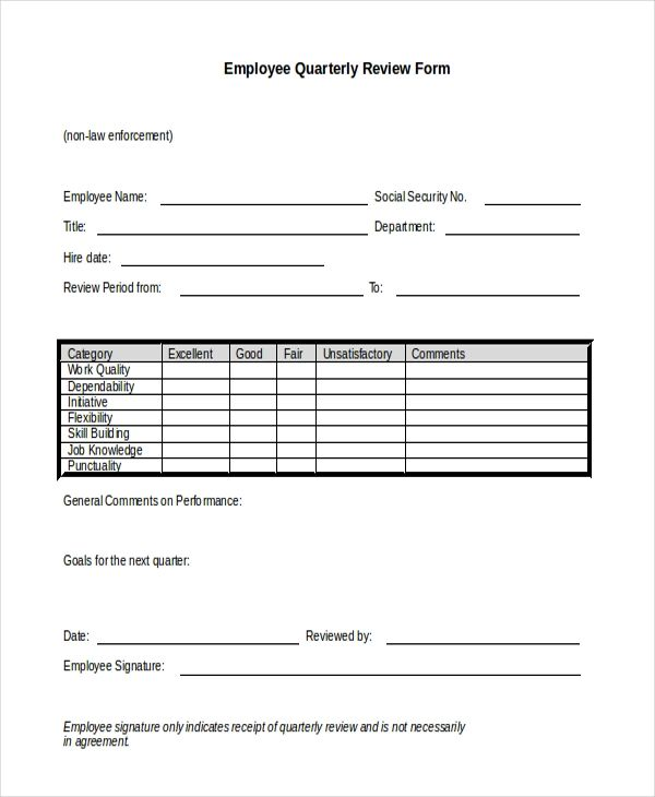 employee review form template free