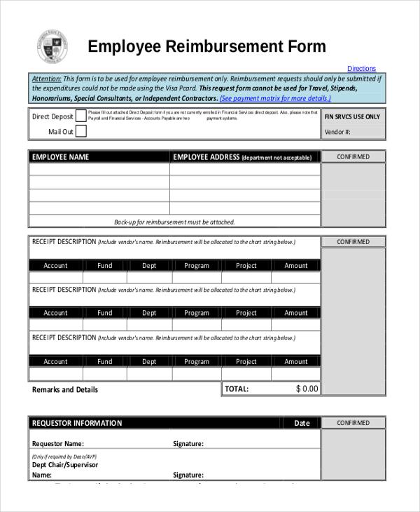 employee reimbursement form template