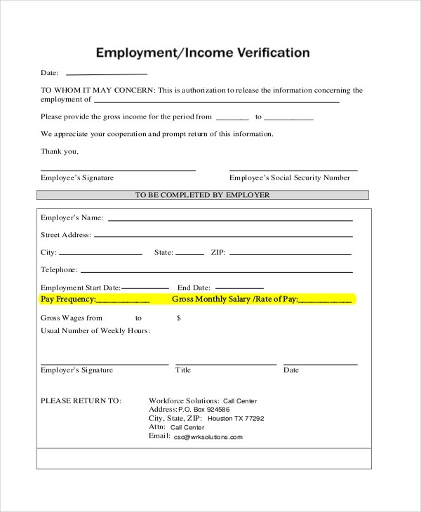 Sample Job Verification Form - 8+ Free Documents in PDF - income verification form