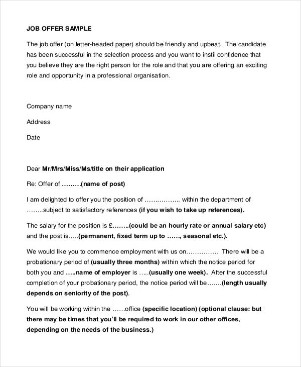 Offer Letter Sample - 9+ Free Documents in PDF - employment offer letter