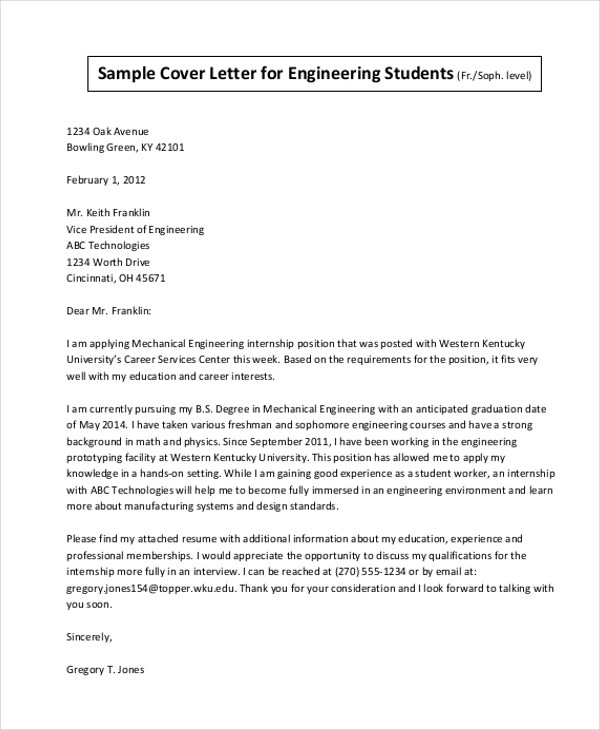Sample Cover Letter For Internship - 9+ Free Documents in Doc, PDF - internship cover letter