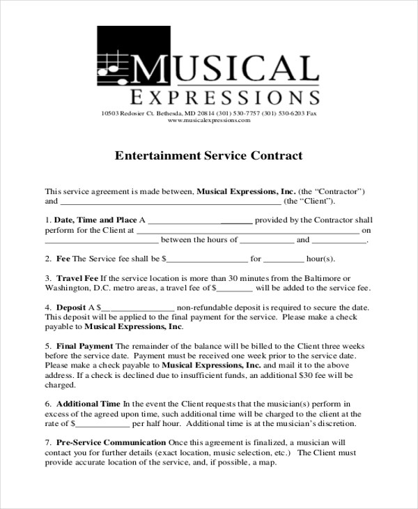 Sample Service Contract Form - 9+ Free Documents in Doc, PDF - music agreement contract