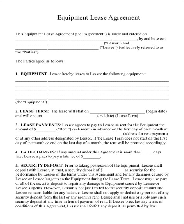 equipment rental agreement format - Oylekalakaari