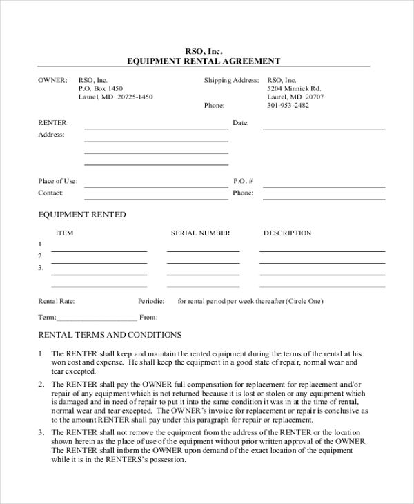 free rental agreement template word
