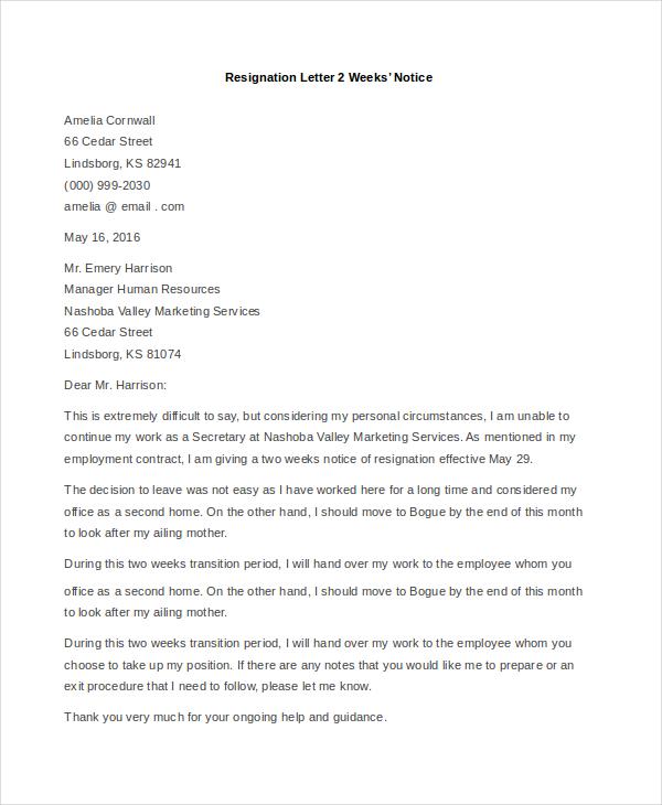 Sample Resignation Letter Example - 8+ Free Documents in Doc - examples of resignation letters