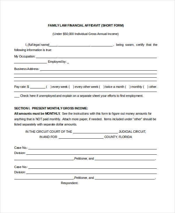 Financial Declaration Form Canada Affidavit And Declaration Forms - affidavits template