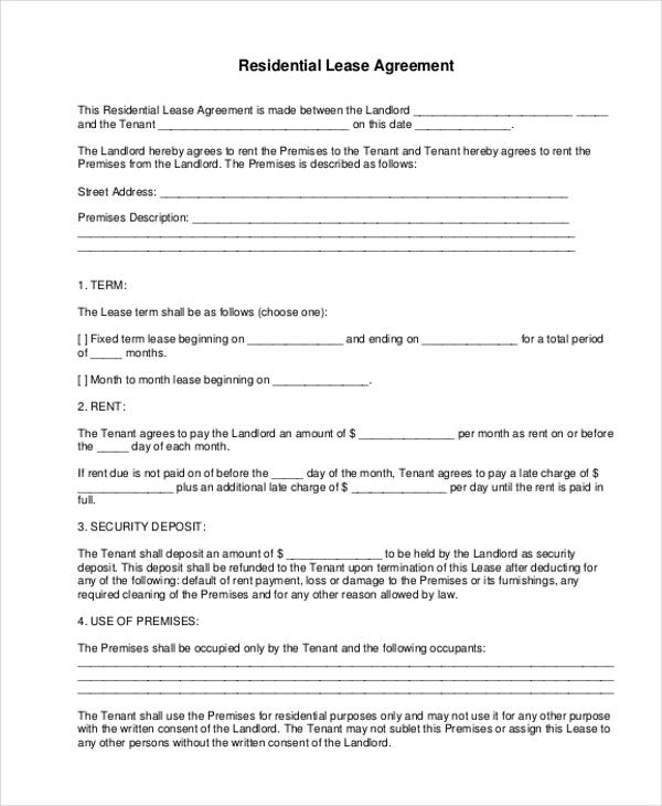 residential lease form - Maggilocustdesign