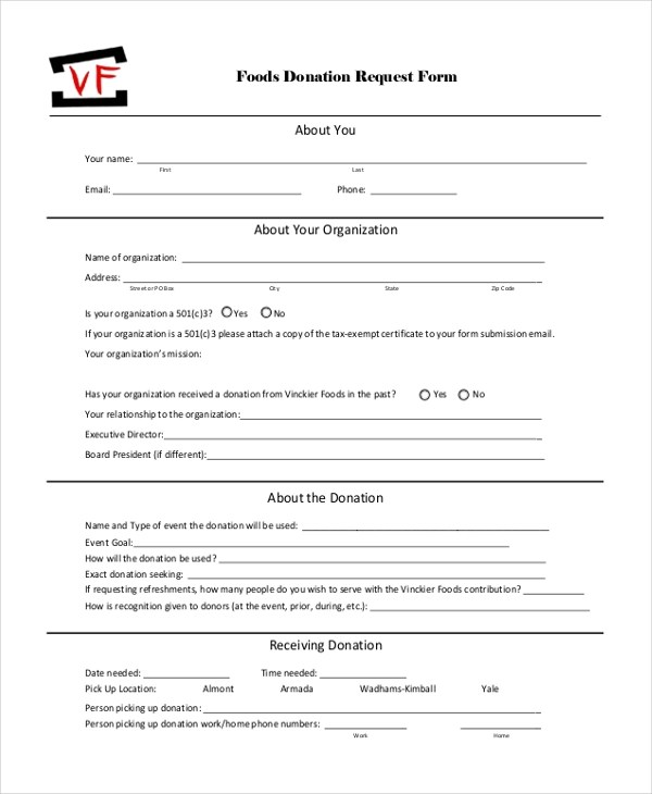 Sample Donation Request Form - 11+ Free Documents in Doc, PDF