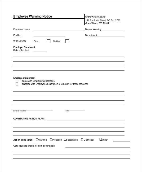Sample Employee Warning Notice - 8+ Sample Documents in PDF, Doc - employee notice form