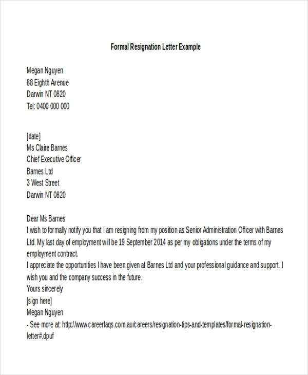 Sample Letter of Resignation Example - 9+ Free Documents in Word - formal resignation letter