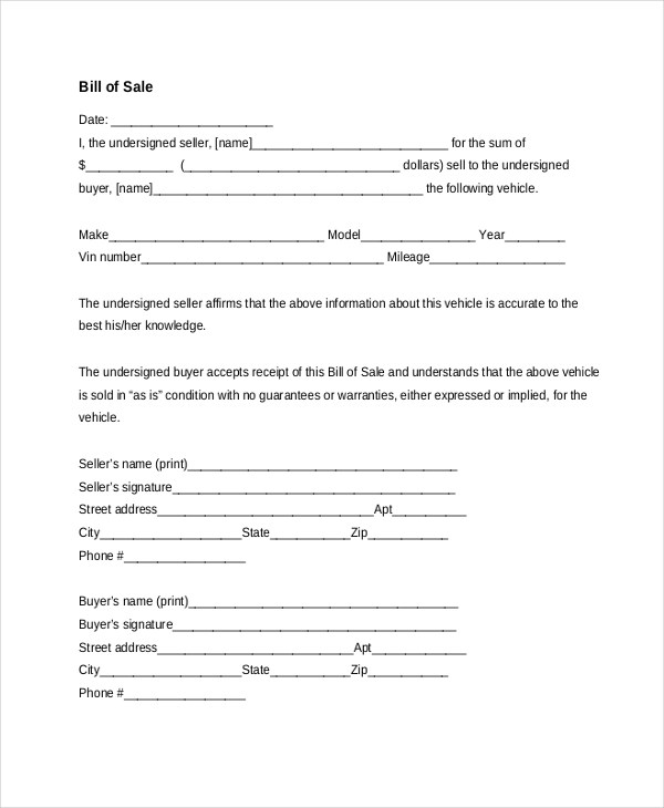 Sample Bill of Sale Car Form - 7+ Free Documents in PDF, Doc - sample auto bill of sale