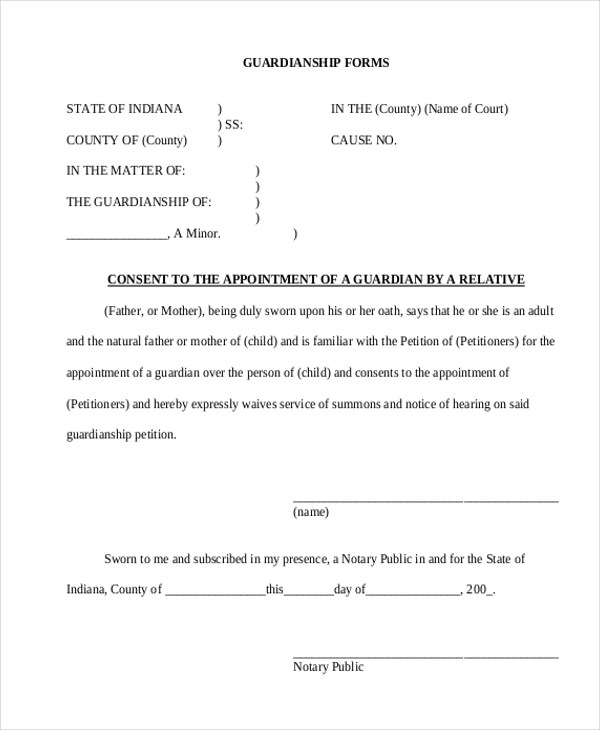 Sample Guardianship Form - 12+ Free Documents In PdfGuardianship - temporary guardianship form