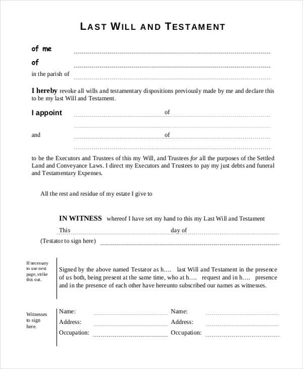 Sample Last Will And Testament Blank Forms | Complaint Letter