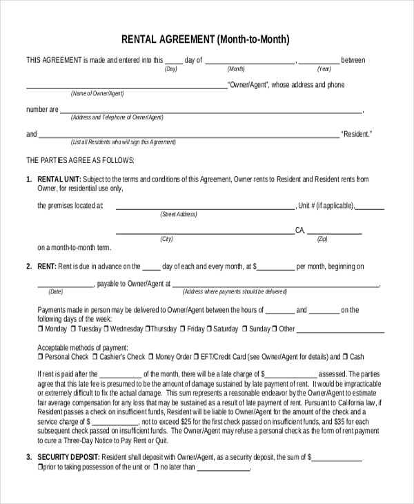 Free Rental Agreement Form Sample - 9+ Free Documents in Doc, PDF - free lease agreement template