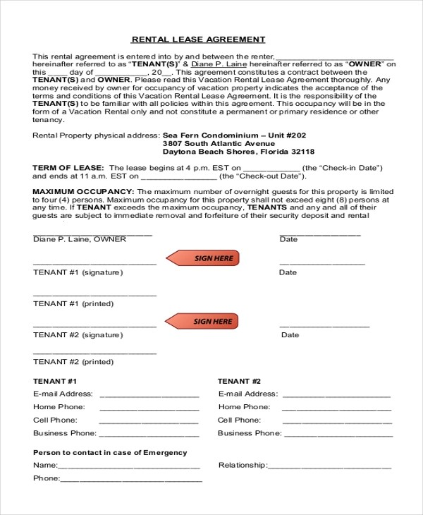 Free Rental Agreement Form Sample - 9+ Free Documents in Doc, PDF - Free Rent Lease Agreement