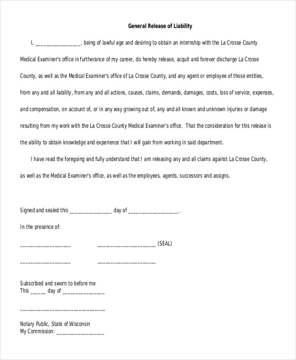 General Liability Release Form Photo Release For Minor Children - free release of liability form