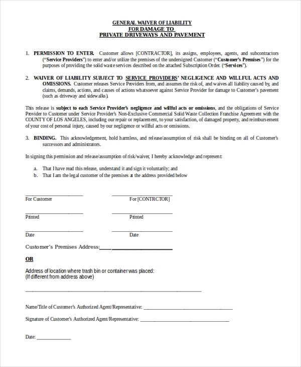 general liability waiver form - 28 images - sle liability release - liability waiver template word