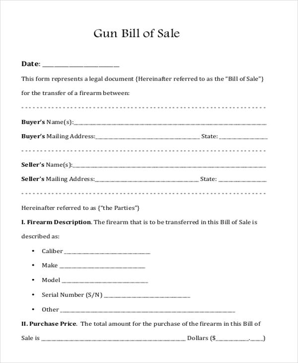 Sample Gun Bill of Sale Form - 8+ Free Documents in Doc, PDF - bill of sale generic