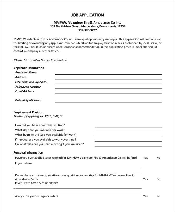 Sample Generic Job Application form - 9+ Free Documents in Doc, PDF - sample generic application for employment