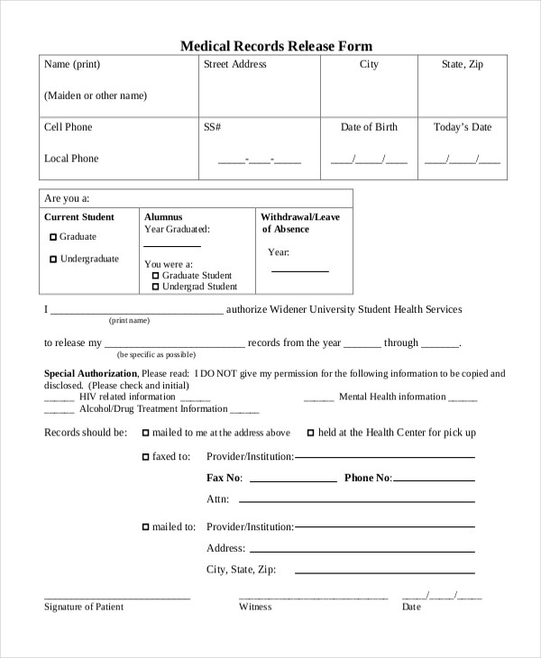 Unique Medical Records Release form Sample Medical Records Release