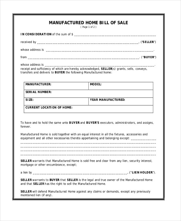 Bill Of Sale Form Mobile Home Free | Bill Of Sale Form Heavy Equipment