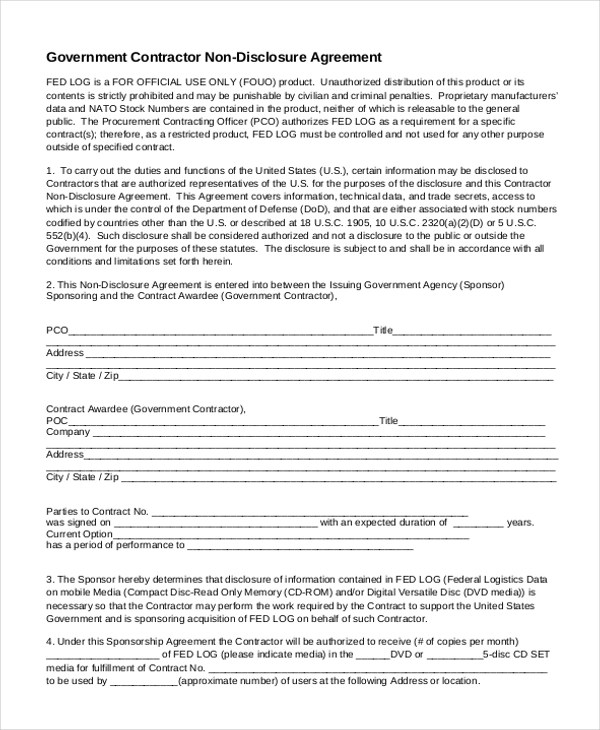 Non-Disclosure Agreement Sample Form - 10+ Sample, Example, Format - contractor confidentiality agreement