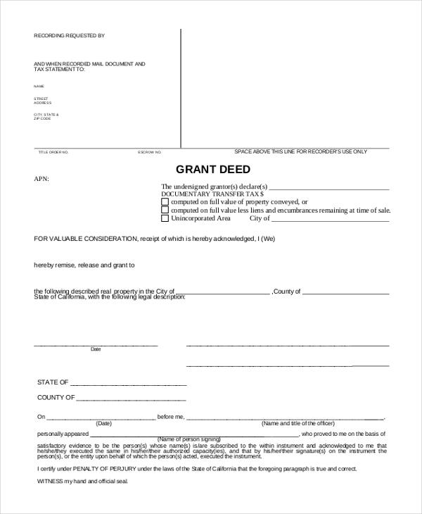 sample deed of trust form hitecauto - grant deed form